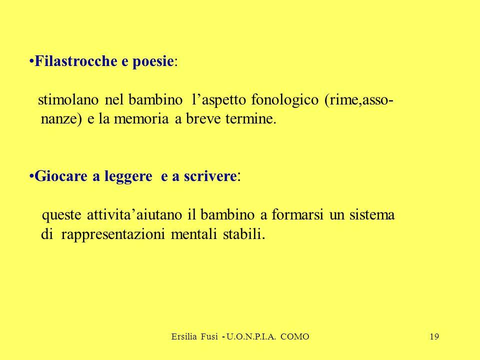 Ersilia Fusi - U.O.N.P.I.A. COMO19 Filastrocche e poesie: stimolano nel bambino laspetto fonologico (rime,asso- nanze) e la memoria a breve termine. G