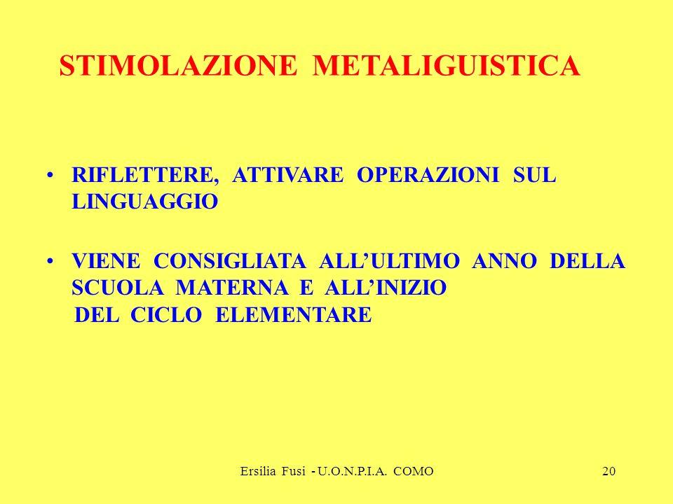 Ersilia Fusi - U.O.N.P.I.A. COMO20 STIMOLAZIONE METALIGUISTICA RIFLETTERE, ATTIVARE OPERAZIONI SUL LINGUAGGIO VIENE CONSIGLIATA ALLULTIMO ANNO DELLA S