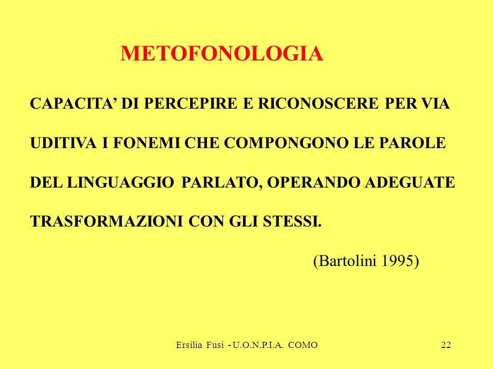Ersilia Fusi - U.O.N.P.I.A. COMO22 METOFONOLOGIA CAPACITA DI PERCEPIRE E RICONOSCERE PER VIA UDITIVA I FONEMI CHE COMPONGONO LE PAROLE DEL LINGUAGGIO