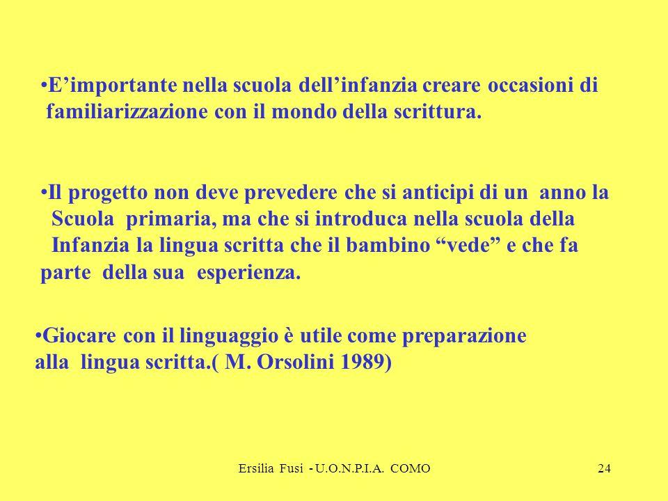 Ersilia Fusi - U.O.N.P.I.A. COMO24 Eimportante nella scuola dellinfanzia creare occasioni di familiarizzazione con il mondo della scrittura. Il proget