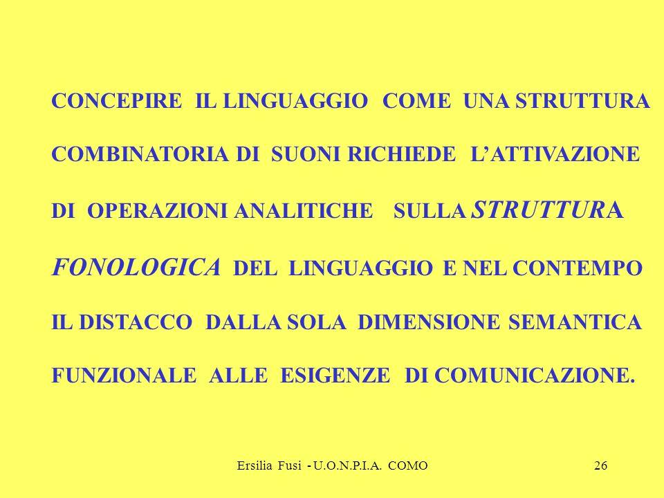 Ersilia Fusi - U.O.N.P.I.A. COMO26 CONCEPIRE IL LINGUAGGIO COME UNA STRUTTURA COMBINATORIA DI SUONI RICHIEDE LATTIVAZIONE DI OPERAZIONI ANALITICHE SUL