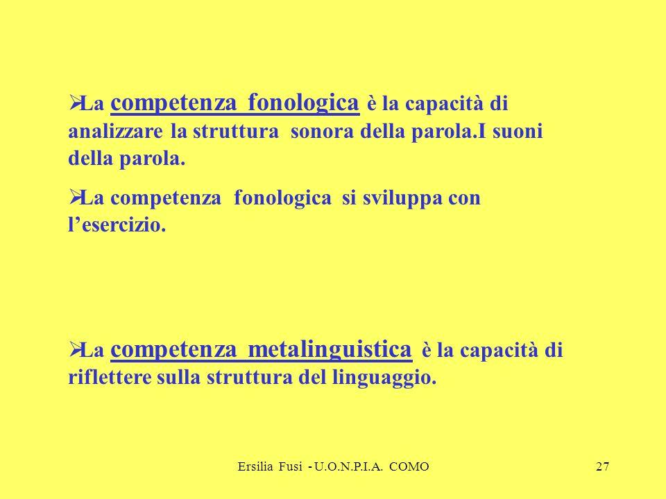 Ersilia Fusi - U.O.N.P.I.A. COMO27 La competenza fonologica è la capacità di analizzare la struttura sonora della parola.I suoni della parola. La comp