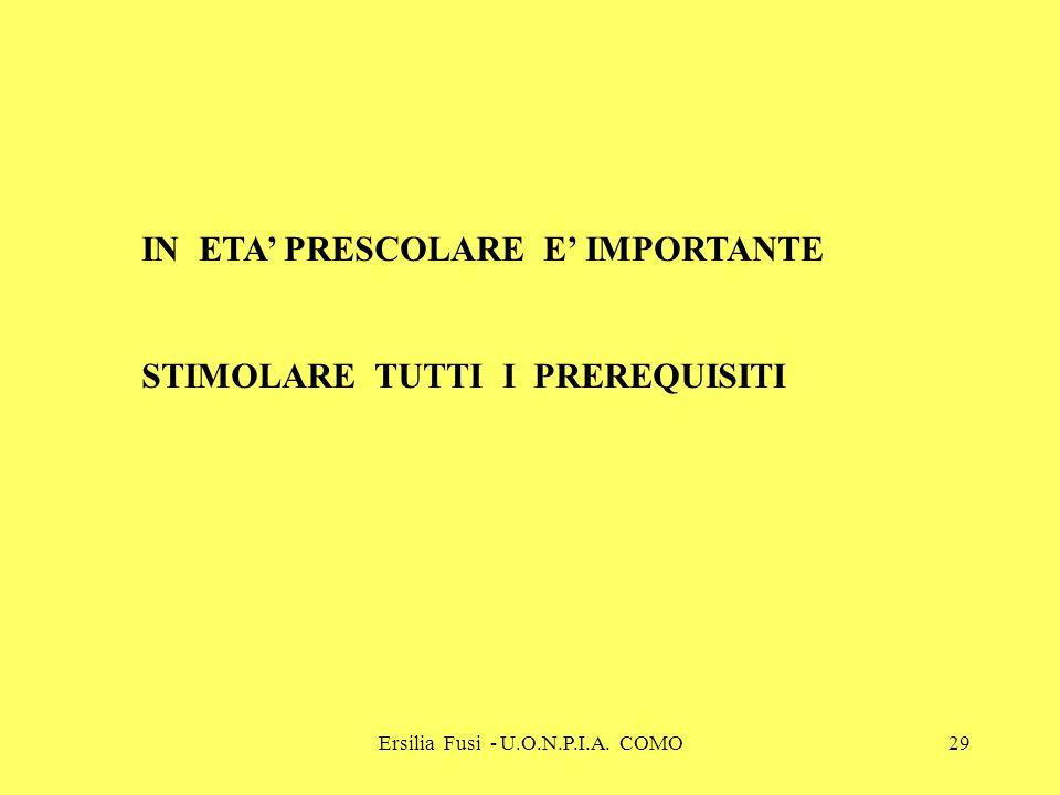 Ersilia Fusi - U.O.N.P.I.A. COMO29 IN ETA PRESCOLARE E IMPORTANTE STIMOLARE TUTTI I PREREQUISITI