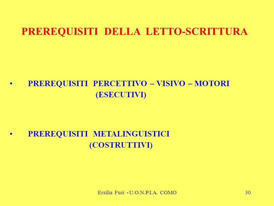 Ersilia Fusi - U.O.N.P.I.A. COMO30 PREREQUISITI DELLA LETTO-SCRITTURA PREREQUISITI PERCETTIVO – VISIVO – MOTORI (ESECUTIVI) PREREQUISITI METALINGUISTI