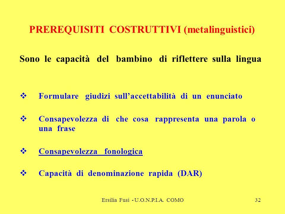 Ersilia Fusi - U.O.N.P.I.A. COMO32 PREREQUISITI COSTRUTTIVI (metalinguistici) Sono le capacità del bambino di riflettere sulla lingua Formulare giudiz