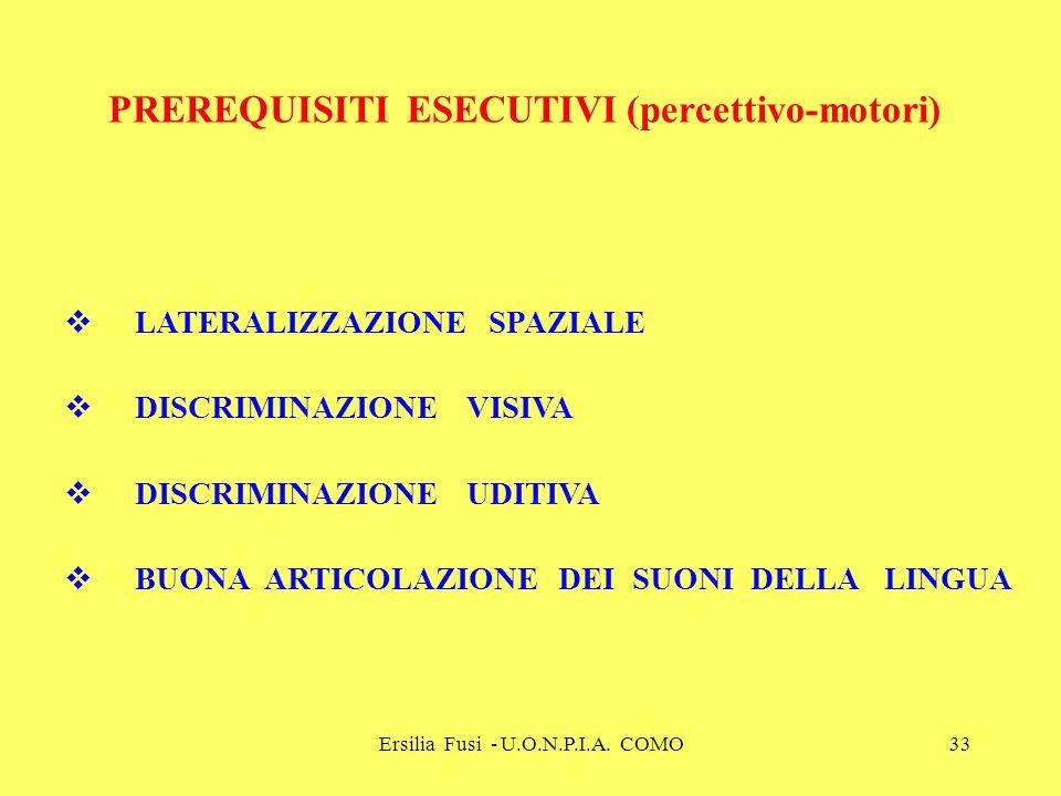Ersilia Fusi - U.O.N.P.I.A. COMO33 PREREQUISITI ESECUTIVI (percettivo-motori) LATERALIZZAZIONE SPAZIALE DISCRIMINAZIONE VISIVA DISCRIMINAZIONE UDITIVA