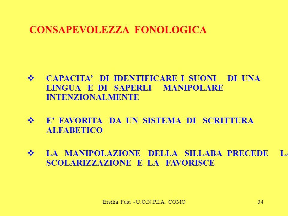 Ersilia Fusi - U.O.N.P.I.A. COMO34 CONSAPEVOLEZZA FONOLOGICA CAPACITA DI IDENTIFICARE I SUONI DI UNA LINGUA E DI SAPERLI MANIPOLARE INTENZIONALMENTE E
