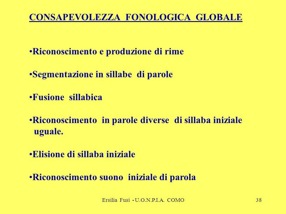 Ersilia Fusi - U.O.N.P.I.A. COMO38 CONSAPEVOLEZZA FONOLOGICA GLOBALE Riconoscimento e produzione di rime Segmentazione in sillabe di parole Fusione si