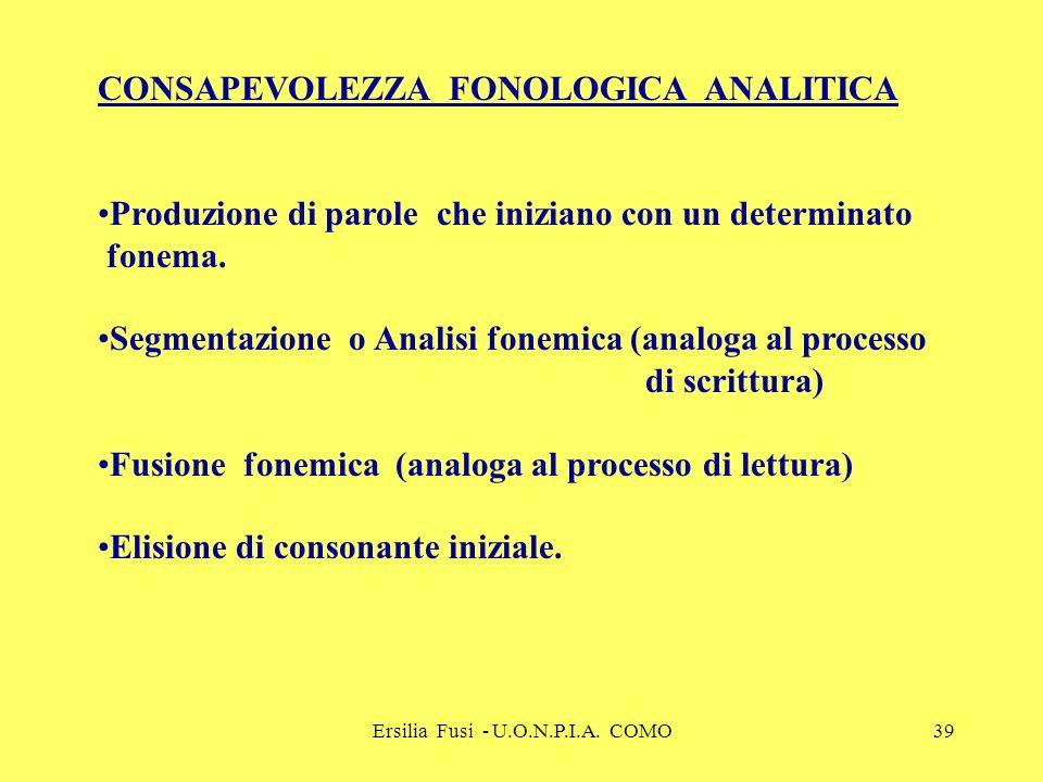 Ersilia Fusi - U.O.N.P.I.A. COMO39 CONSAPEVOLEZZA FONOLOGICA ANALITICA Produzione di parole che iniziano con un determinato fonema. Segmentazione o An