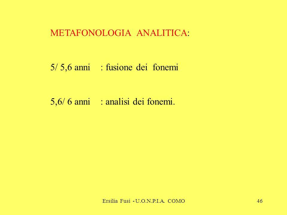 Ersilia Fusi - U.O.N.P.I.A. COMO46 METAFONOLOGIA ANALITICA: 5/ 5,6 anni : fusione dei fonemi 5,6/ 6 anni : analisi dei fonemi.
