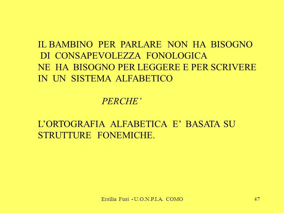 Ersilia Fusi - U.O.N.P.I.A. COMO47 IL BAMBINO PER PARLARE NON HA BISOGNO DI CONSAPEVOLEZZA FONOLOGICA NE HA BISOGNO PER LEGGERE E PER SCRIVERE IN UN S