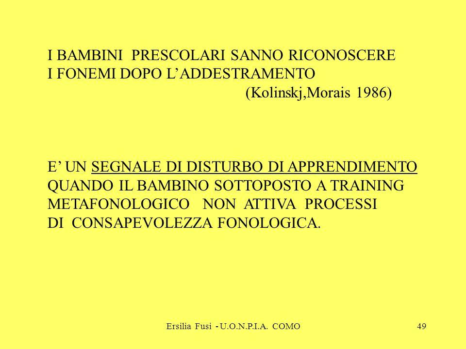 Ersilia Fusi - U.O.N.P.I.A. COMO49 I BAMBINI PRESCOLARI SANNO RICONOSCERE I FONEMI DOPO LADDESTRAMENTO (Kolinskj,Morais 1986) E UN SEGNALE DI DISTURBO