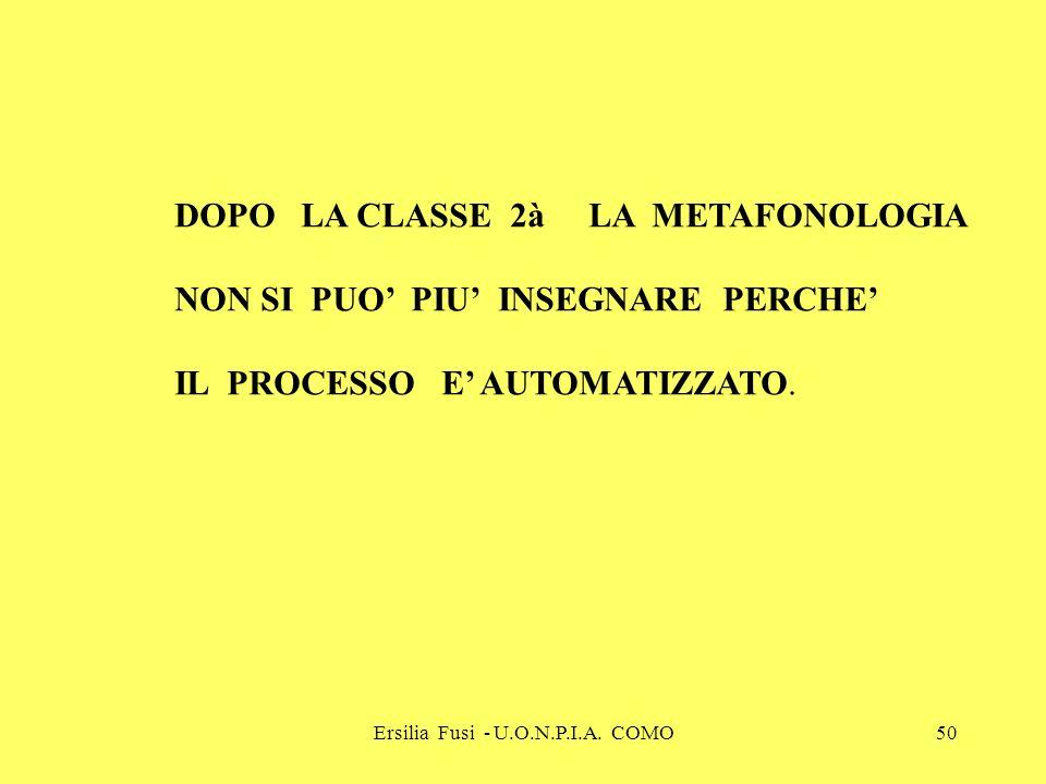 Ersilia Fusi - U.O.N.P.I.A. COMO50 DOPO LA CLASSE 2à LA METAFONOLOGIA NON SI PUO PIU INSEGNARE PERCHE IL PROCESSO E AUTOMATIZZATO.