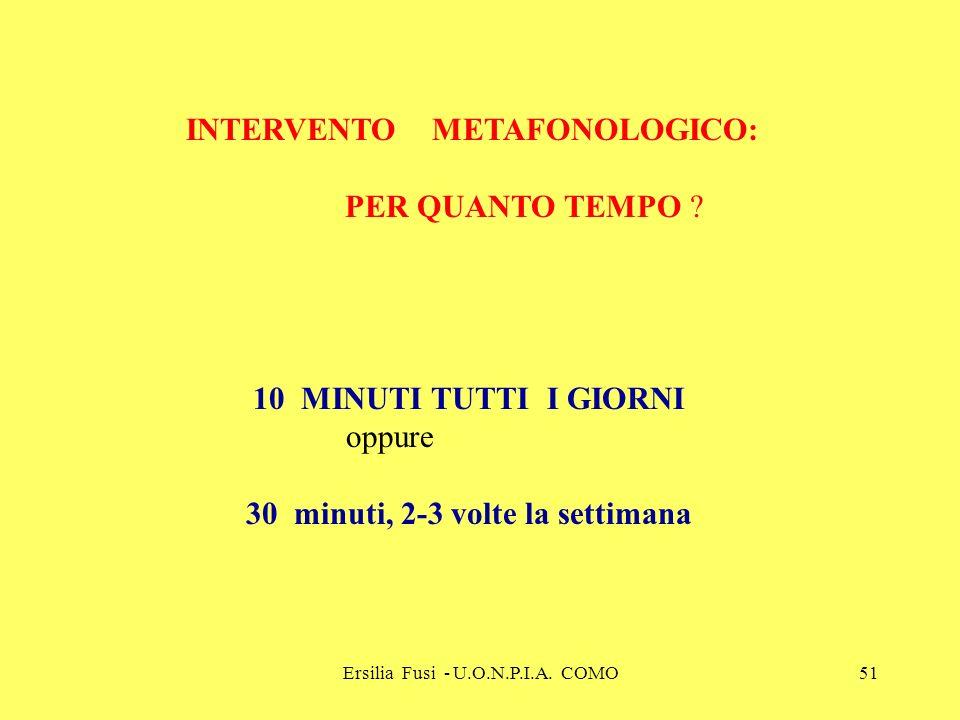 Ersilia Fusi - U.O.N.P.I.A. COMO51 INTERVENTO METAFONOLOGICO: PER QUANTO TEMPO ? 10MINUTI TUTTI I GIORNI oppure 30 minuti, 2-3 volte la settimana
