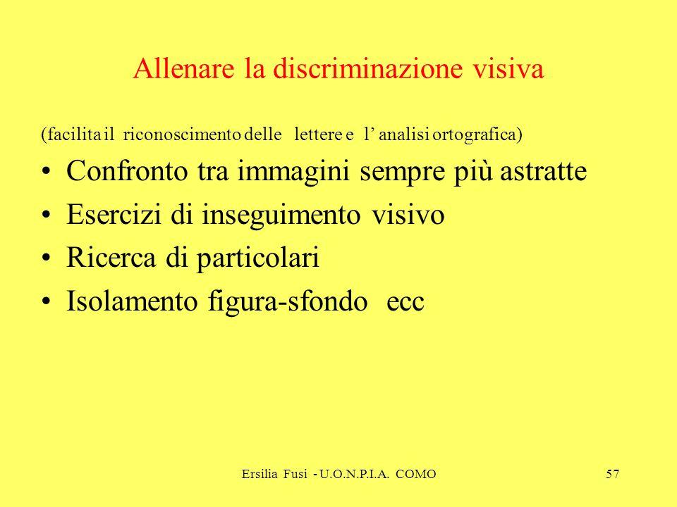 Ersilia Fusi - U.O.N.P.I.A. COMO57 Allenare la discriminazione visiva (facilita il riconoscimento delle lettere e l analisi ortografica) Confronto tra