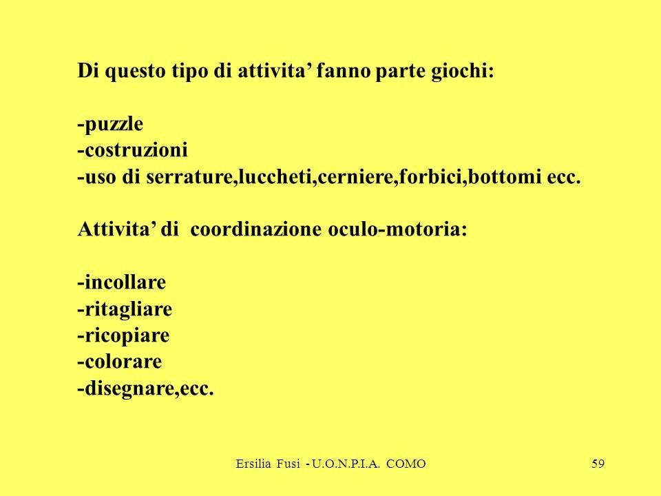 Ersilia Fusi - U.O.N.P.I.A. COMO59 Di questo tipo di attivita fanno parte giochi: -puzzle -costruzioni -uso di serrature,luccheti,cerniere,forbici,bot