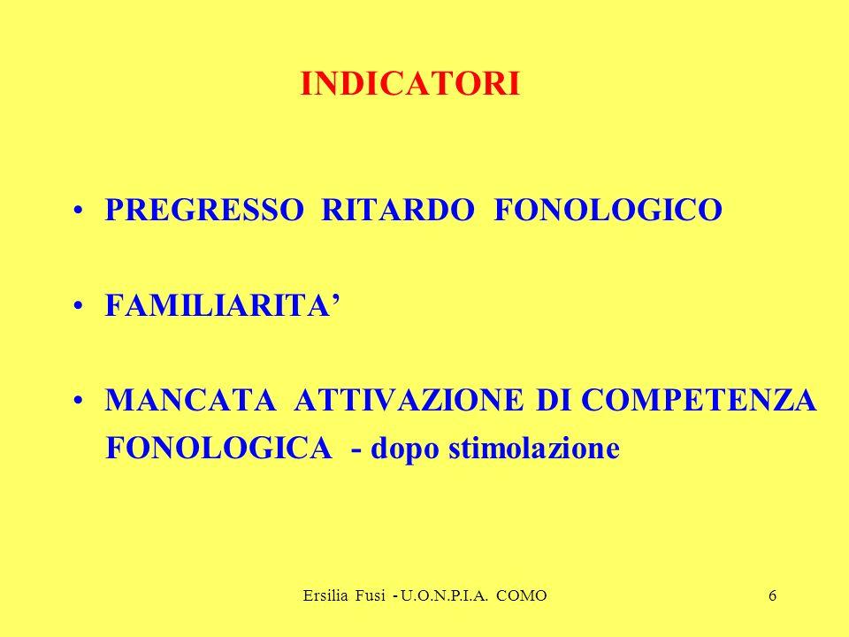 Ersilia Fusi - U.O.N.P.I.A. COMO6 INDICATORI PREGRESSO RITARDO FONOLOGICO FAMILIARITA MANCATA ATTIVAZIONE DI COMPETENZA FONOLOGICA - dopo stimolazione