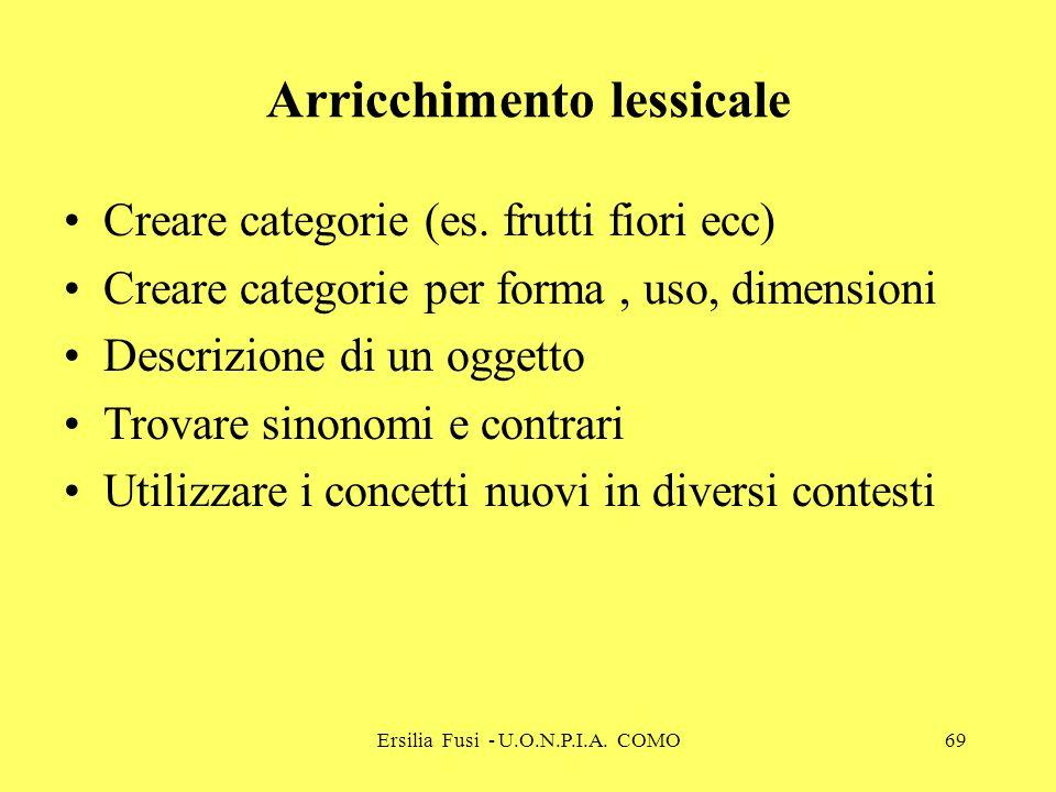 Ersilia Fusi - U.O.N.P.I.A. COMO69 Arricchimento lessicale Creare categorie (es. frutti fiori ecc) Creare categorie per forma, uso, dimensioni Descriz