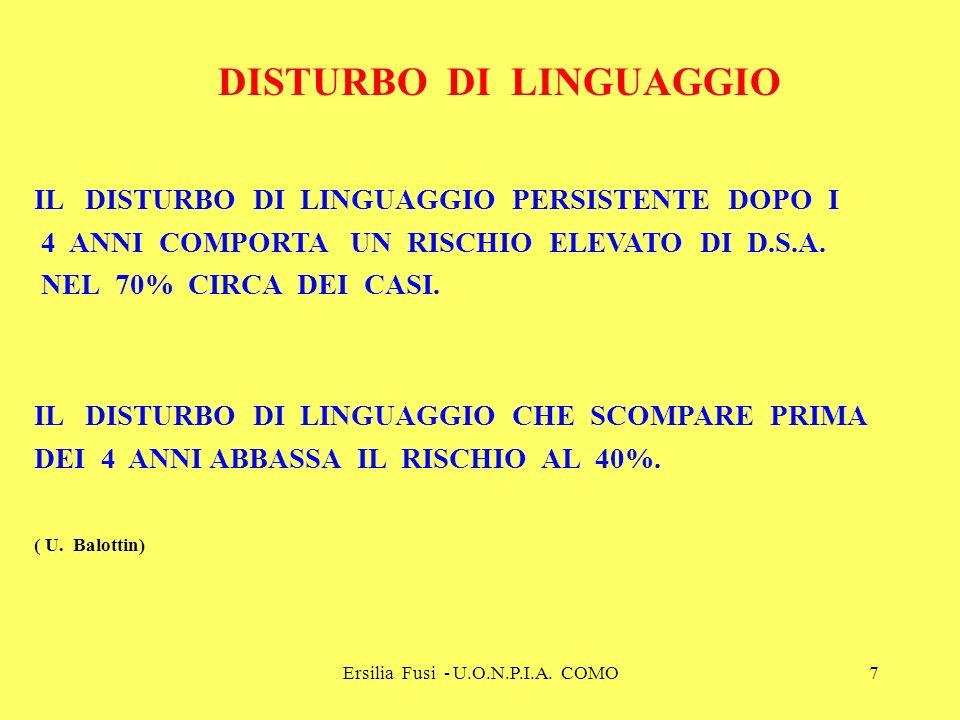 Ersilia Fusi - U.O.N.P.I.A. COMO7 IL DISTURBO DI LINGUAGGIO PERSISTENTE DOPO I 4 ANNI COMPORTA UN RISCHIO ELEVATO DI D.S.A. NEL 70% CIRCA DEI CASI. IL