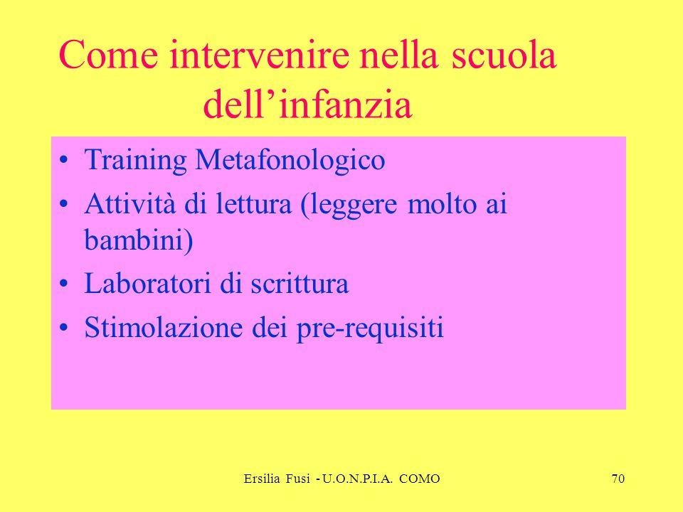 Ersilia Fusi - U.O.N.P.I.A. COMO70 Come intervenire nella scuola dellinfanzia Training Metafonologico Attività di lettura (leggere molto ai bambini) L