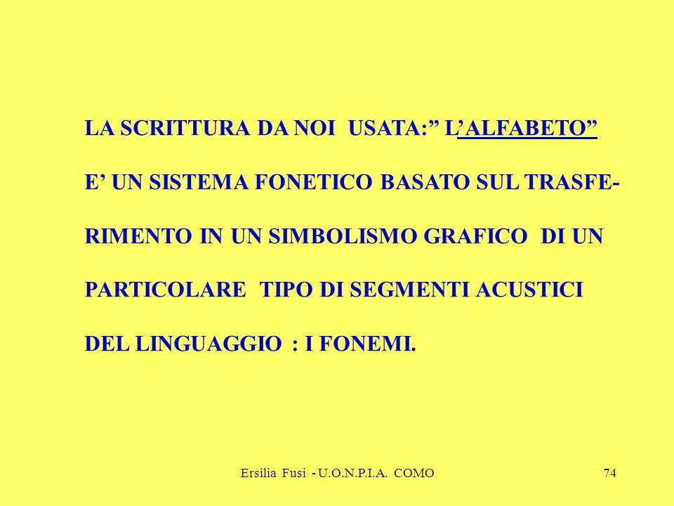 Ersilia Fusi - U.O.N.P.I.A. COMO74 LA SCRITTURA DA NOI USATA: LALFABETO E UN SISTEMA FONETICO BASATO SUL TRASFE- RIMENTO IN UN SIMBOLISMO GRAFICO DI U