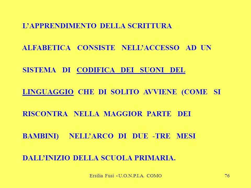 Ersilia Fusi - U.O.N.P.I.A. COMO76 LAPPRENDIMENTO DELLA SCRITTURA ALFABETICA CONSISTE NELLACCESSO AD UN SISTEMA DI CODIFICA DEI SUONI DEL LINGUAGGIO C