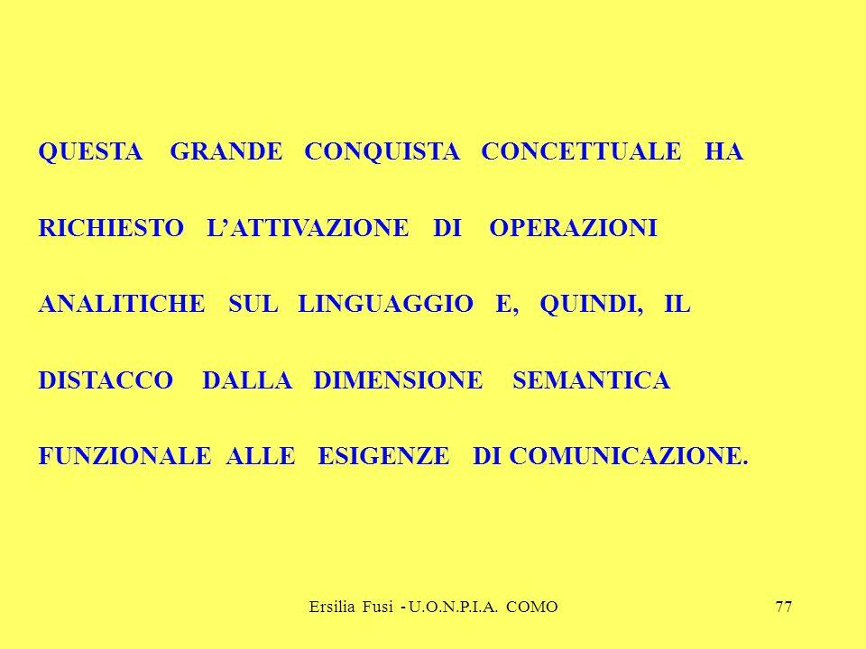 Ersilia Fusi - U.O.N.P.I.A. COMO77 QUESTA GRANDE CONQUISTA CONCETTUALE HA RICHIESTO LATTIVAZIONE DI OPERAZIONI ANALITICHE SUL LINGUAGGIO E, QUINDI, IL