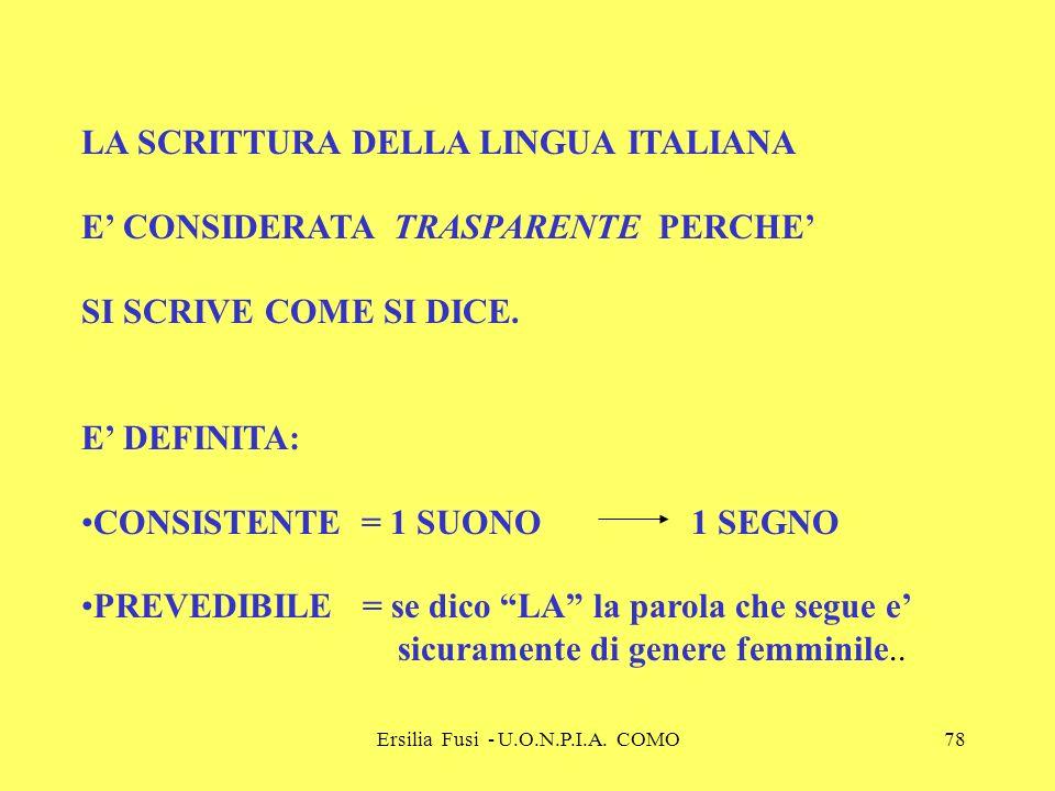 Ersilia Fusi - U.O.N.P.I.A. COMO78 LA SCRITTURA DELLA LINGUA ITALIANA E CONSIDERATA TRASPARENTE PERCHE SI SCRIVE COME SI DICE. E DEFINITA: CONSISTENTE