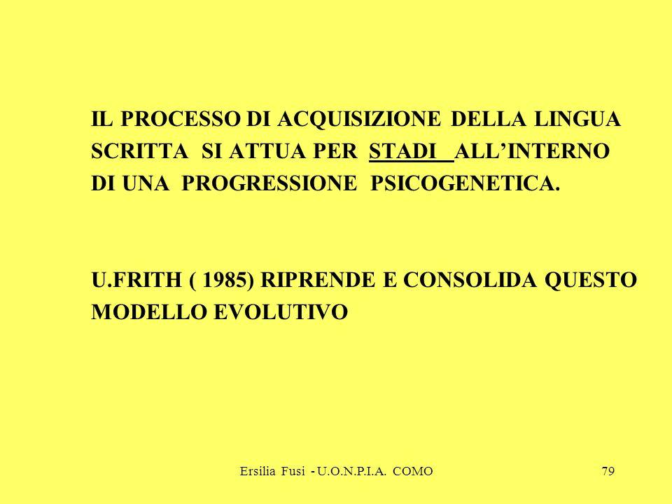 Ersilia Fusi - U.O.N.P.I.A. COMO79 IL PROCESSO DI ACQUISIZIONE DELLA LINGUA SCRITTA SI ATTUA PER STADI ALLINTERNO DI UNA PROGRESSIONE PSICOGENETICA. U
