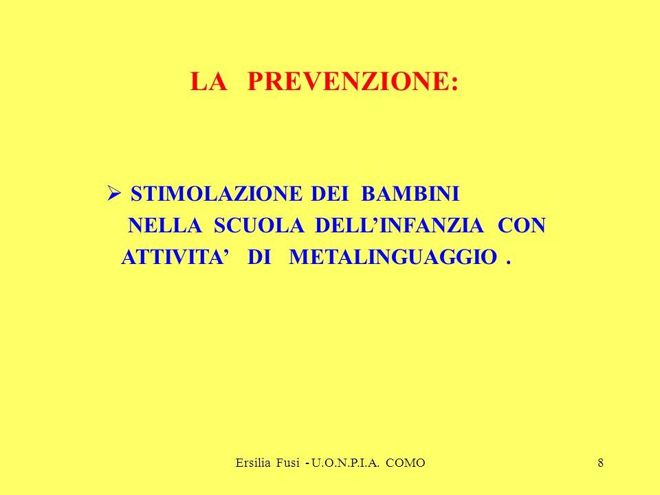 Ersilia Fusi - U.O.N.P.I.A. COMO8 LA PREVENZIONE: STIMOLAZIONE DEI BAMBINI NELLA SCUOLA DELLINFANZIA CON ATTIVITA DI METALINGUAGGIO.