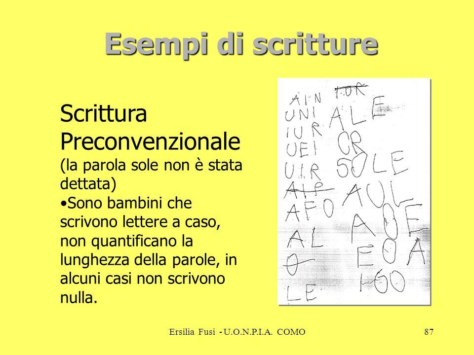 Ersilia Fusi - U.O.N.P.I.A. COMO87 Scrittura Preconvenzionale (la parola sole non è stata dettata) Sono bambini che scrivono lettere a caso, non quant
