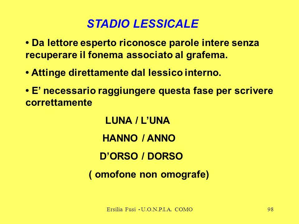 Ersilia Fusi - U.O.N.P.I.A. COMO98 STADIO LESSICALE Da lettore esperto riconosce parole intere senza recuperare il fonema associato al grafema. Atting