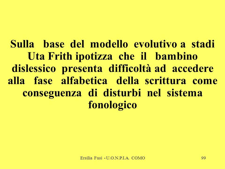 Ersilia Fusi - U.O.N.P.I.A. COMO99 Sulla base del modello evolutivo a stadi Uta Frith ipotizza che il bambino dislessico presenta difficoltà ad accede