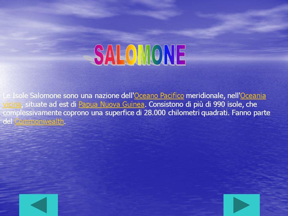 Le Isole Salomone sono una nazione dell Oceano Pacifico meridionale, nell Oceania vicina, situate ad est di Papua Nuova Guinea.