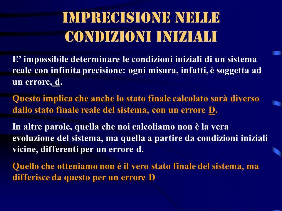 Imprecisione nelle condizioni iniziali E impossibile determinare le condizioni iniziali di un sistema reale con infinita precisione: ogni misura, infa