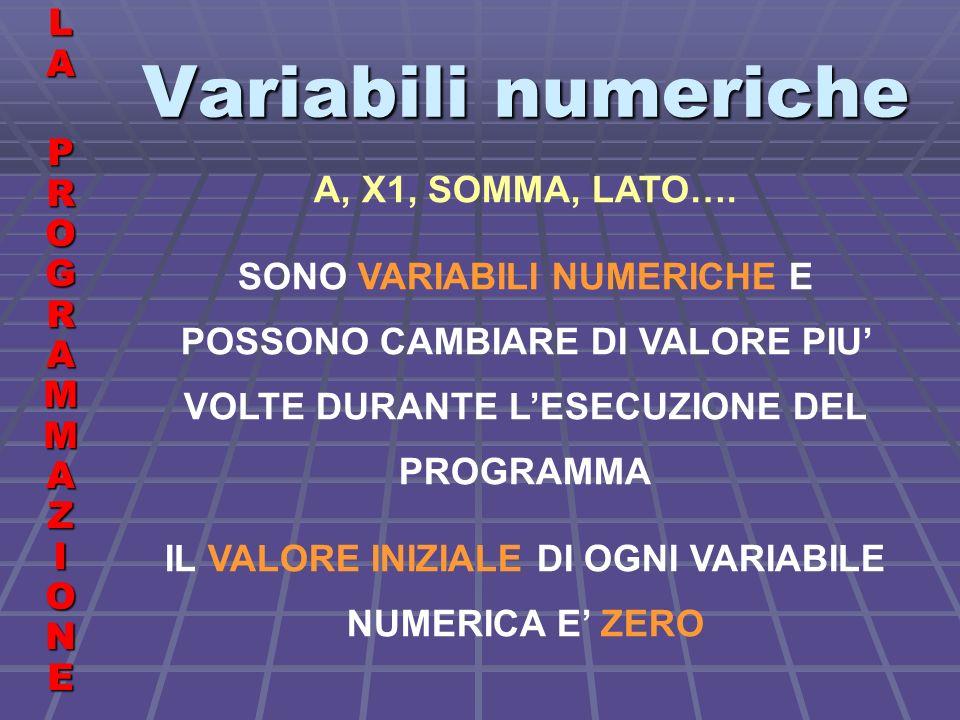 Variabili numeriche LALA PROGRAMMAZIONE PROGRAMMAZIONELALA PROGRAMMAZIONE PROGRAMMAZIONE A, X1, SOMMA, LATO….