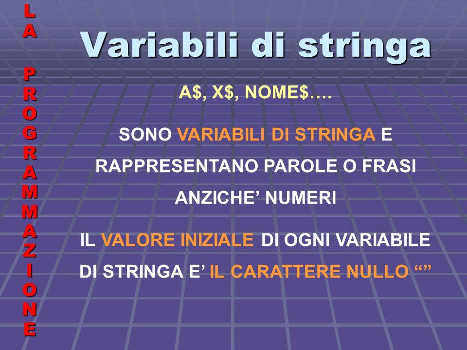 Variabili di stringa LALA PROGRAMMAZIONE PROGRAMMAZIONELALA PROGRAMMAZIONE PROGRAMMAZIONE A$, X$, NOME$….