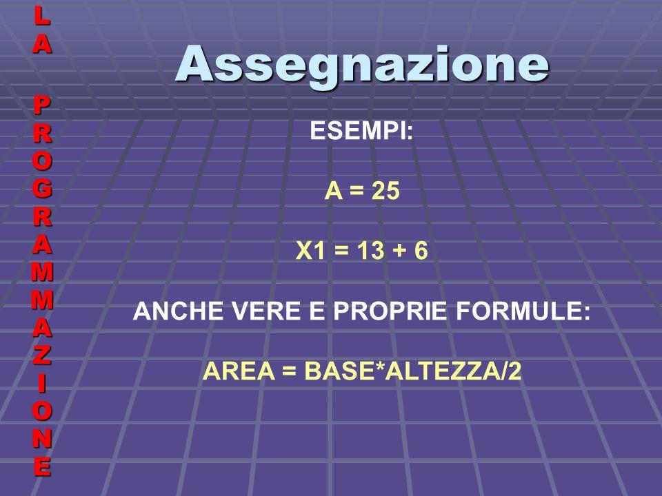 Assegnazione LALA PROGRAMMAZIONE PROGRAMMAZIONELALA PROGRAMMAZIONE PROGRAMMAZIONE ESEMPI: A = 25 X1 = 13 + 6 ANCHE VERE E PROPRIE FORMULE: AREA = BASE*ALTEZZA/2