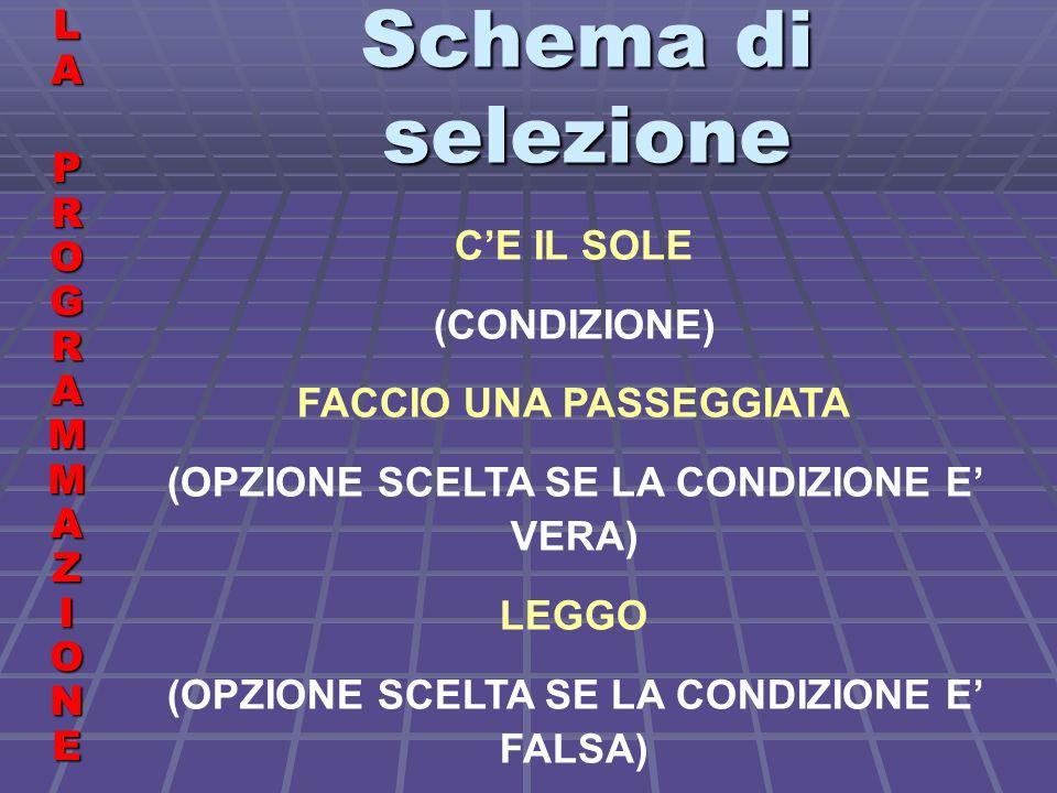 Schema di selezione LALA PROGRAMMAZIONE PROGRAMMAZIONELALA PROGRAMMAZIONE PROGRAMMAZIONE CE IL SOLE (CONDIZIONE) FACCIO UNA PASSEGGIATA (OPZIONE SCELTA SE LA CONDIZIONE E VERA) LEGGO (OPZIONE SCELTA SE LA CONDIZIONE E FALSA)