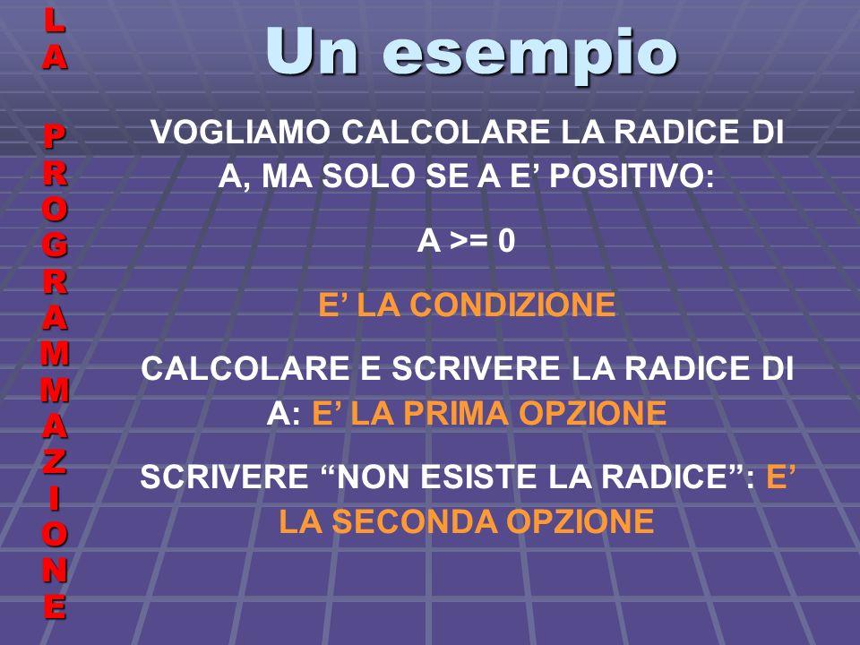 Un esempio LALA PROGRAMMAZIONE PROGRAMMAZIONELALA PROGRAMMAZIONE PROGRAMMAZIONE VOGLIAMO CALCOLARE LA RADICE DI A, MA SOLO SE A E POSITIVO: A >= 0 E LA CONDIZIONE CALCOLARE E SCRIVERE LA RADICE DI A: E LA PRIMA OPZIONE SCRIVERE NON ESISTE LA RADICE: E LA SECONDA OPZIONE