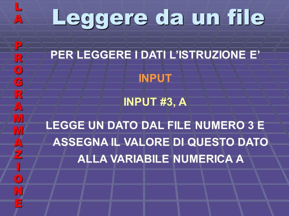 Leggere da un file LALA PROGRAMMAZIONE PROGRAMMAZIONELALA PROGRAMMAZIONE PROGRAMMAZIONE PER LEGGERE I DATI LISTRUZIONE E INPUT INPUT #3, A LEGGE UN DATO DAL FILE NUMERO 3 E ASSEGNA IL VALORE DI QUESTO DATO ALLA VARIABILE NUMERICA A