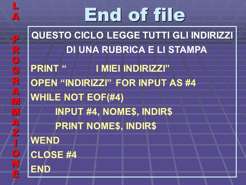 End of file LALA PROGRAMMAZIONE PROGRAMMAZIONELALA PROGRAMMAZIONE PROGRAMMAZIONE QUESTO CICLO LEGGE TUTTI GLI INDIRIZZI DI UNA RUBRICA E LI STAMPA PRINT I MIEI INDIRIZZI OPEN INDIRIZZI FOR INPUT AS #4 WHILE NOT EOF(#4) INPUT #4, NOME$, INDIR$ PRINT NOME$, INDIR$ WEND CLOSE #4 END