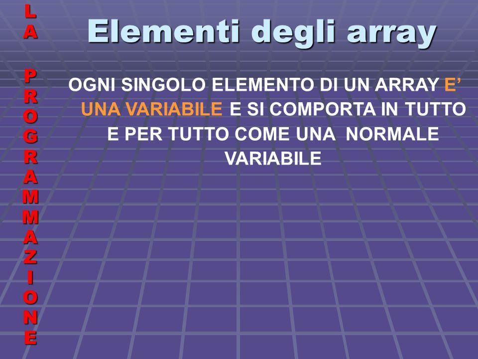 Elementi degli array LALA PROGRAMMAZIONE PROGRAMMAZIONELALA PROGRAMMAZIONE PROGRAMMAZIONE OGNI SINGOLO ELEMENTO DI UN ARRAY E UNA VARIABILE E SI COMPORTA IN TUTTO E PER TUTTO COME UNA NORMALE VARIABILE