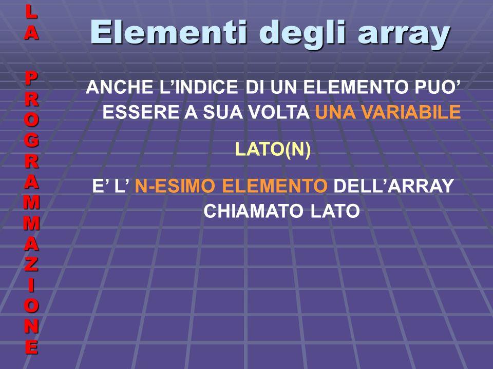 Elementi degli array LALA PROGRAMMAZIONE PROGRAMMAZIONELALA PROGRAMMAZIONE PROGRAMMAZIONE ANCHE LINDICE DI UN ELEMENTO PUO ESSERE A SUA VOLTA UNA VARIABILE LATO(N) E L N-ESIMO ELEMENTO DELLARRAY CHIAMATO LATO