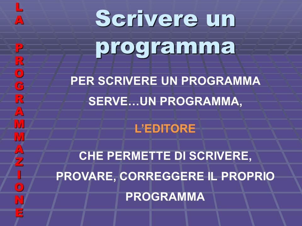 Programmi di esempio LALA PROGRAMMAZIONE PROGRAMMAZIONELALA PROGRAMMAZIONE PROGRAMMAZIONE TROVA I DIVISORI DI UN NUMERO PRINT INTRODUCI UN NUMERO INPUT P LIMITE = P/2 PRINT I DIVISORI PROPRI DEL NUMERO DATO SONO: PRINT FOR N = 2 TO LIMITE QUOZIENTE = P/N QUOZINTERO = INT(QUOZIENTE) IF QUOZINTERO = QUOZIENTE THEN PRINT N END IF NEXT N END