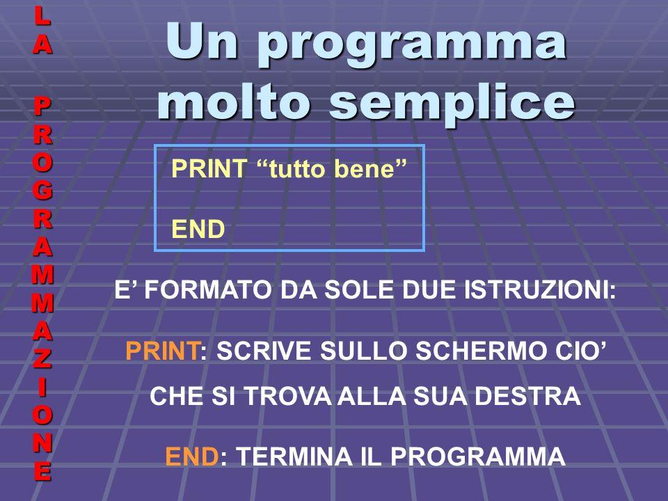 Costanti e variabili LALA PROGRAMMAZIONE PROGRAMMAZIONELALA PROGRAMMAZIONE PROGRAMMAZIONE PROVA A SCRIVERE E A FAR ESEGUIRE IL SEGUENTE PROGRAMMA PRINT A PRINT 5 PRINT A PRINT A$ END