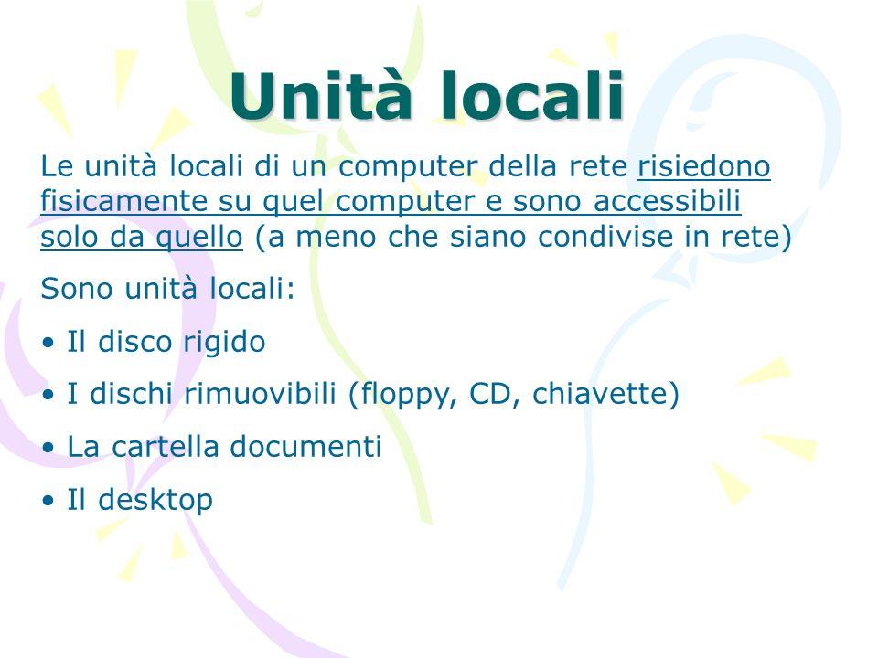 Unità locali Le unità locali di un computer della rete risiedono fisicamente su quel computer e sono accessibili solo da quello (a meno che siano cond
