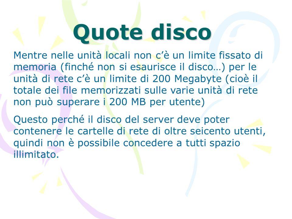 Quote disco Mentre nelle unità locali non cè un limite fissato di memoria (finché non si esaurisce il disco…) per le unità di rete cè un limite di 200