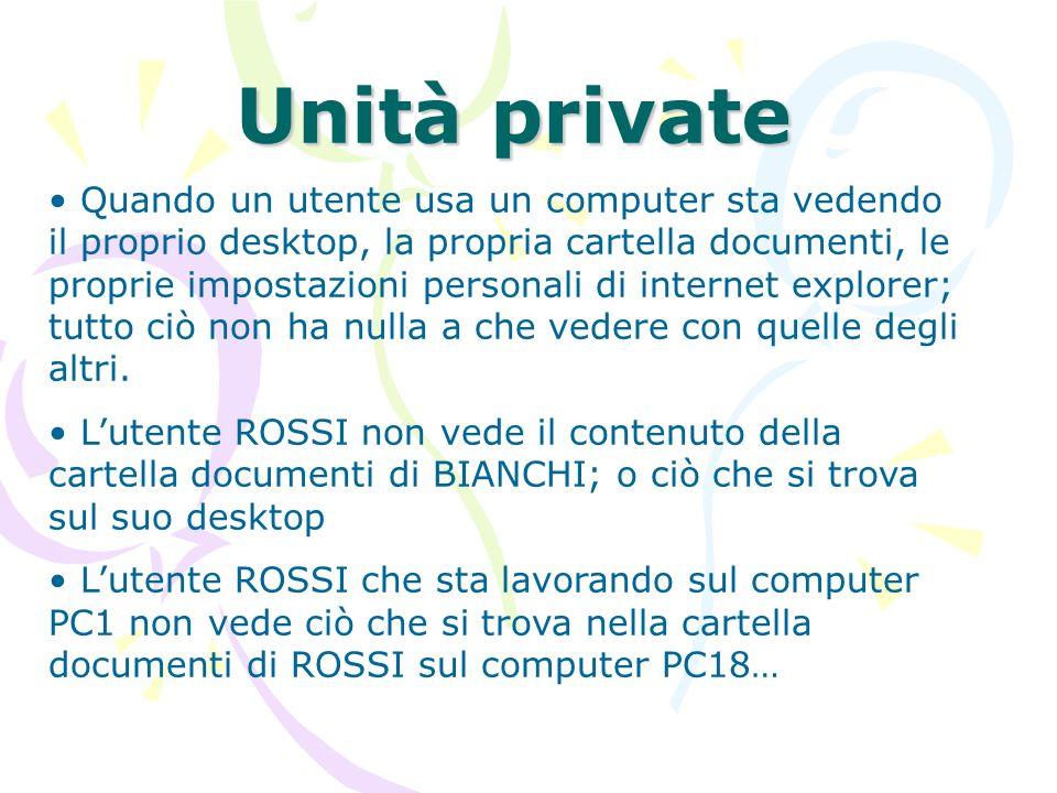 Unità private Quando un utente usa un computer sta vedendo il proprio desktop, la propria cartella documenti, le proprie impostazioni personali di int