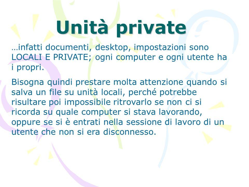 Unità private …infatti documenti, desktop, impostazioni sono LOCALI E PRIVATE; ogni computer e ogni utente ha i propri. Bisogna quindi prestare molta